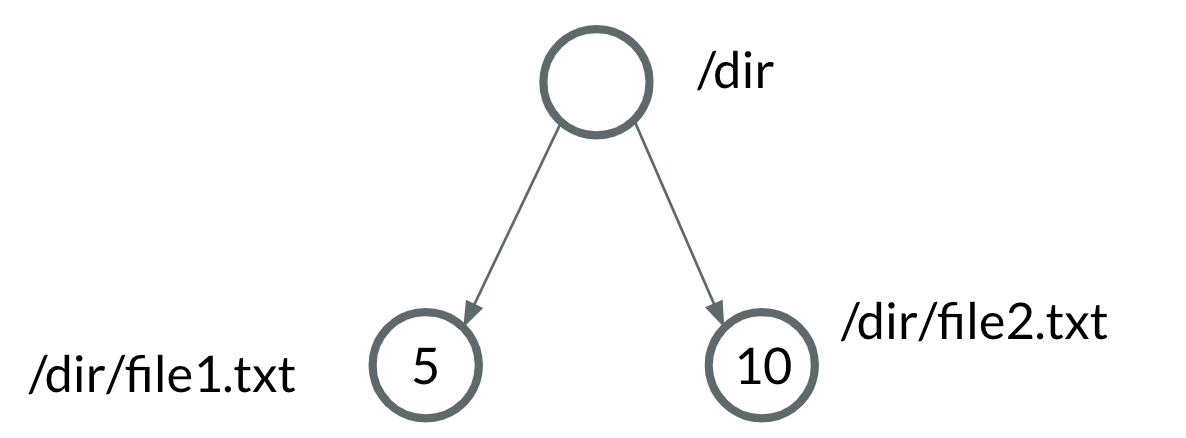 Trie data structure with asymmetrical data